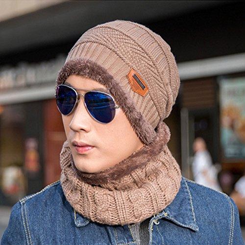 gorrita de sombrero grueso piezas de unisex caliente gorro invierno punto bufanda gorro la de cuello Marrón sombrero y bufanda mujeres tejida hombres conjunto de 2 de punto BRwqUwH