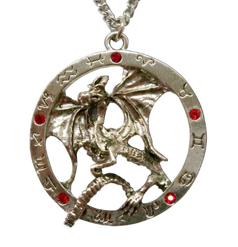 Dragon Tales Costume (Gothic Dragon Surrounded By Zodiac Circle Medieval Renaissance Pendant Necklace)