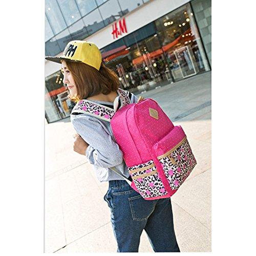 44594ba7b06f7 ... Inwagui Mädchen Schulrucksack Fashion Canvas Rucksack Teenager  Schultasche Daypacks Cityrucksack für Universität Outdoor Reise-Rose ...