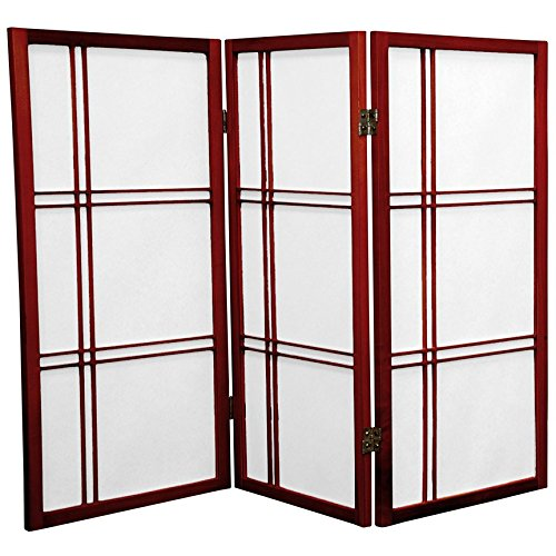 ORIENTAL FURNITURE 3 ft. Tall Double Cross Shoji Screen - Rosewood - 3 Panels