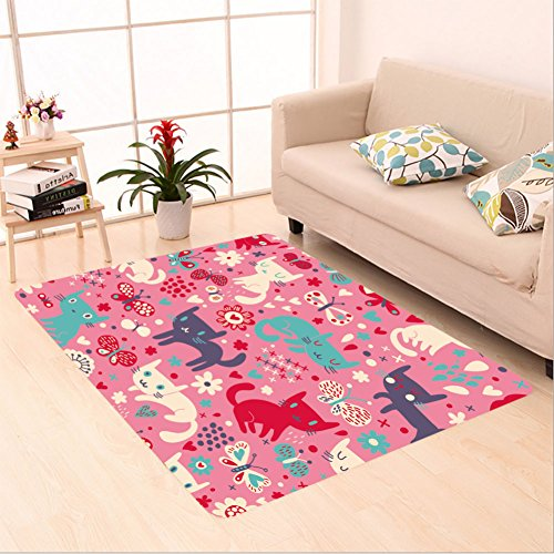 Sophiehome skid Slip rubber back antibacterial  Area Rug funny cats cartoon seamless pattern for children background colorful wallpaper with cats 111023531 Home Decorative by sophiehome