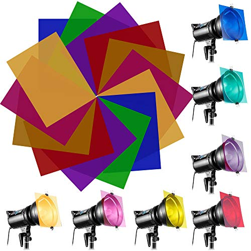 EMAGEREN 14PCS filtros de Colores para Luces Filtro de Gel Laminas de Plastico Filtros de Compensacion y correccion de Colores Filtro Color Gel, 7 Colores, Filtros Difusores Universales de Colores