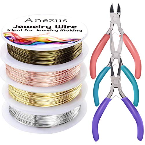 Anezus 7 Pcs Jewelry Pliers and Jewelry Beading Wire Tools Set Includes Needle Nose Pliers, Round Nose Pliers, Wire Cutters and Craft Wire for Jewelry Repair Making - Jewelry Cutter Tools