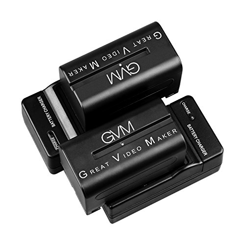 GVM Li-ion NPF 750 Replacement Battery 4400mAh 2 Pieces Batteries With 2 Charger Fit For Sony HandyCams, GVM Led Video Light 480ls, 520ls, 520s 672s And Other LED On-Camera Photography Lighting by GVM