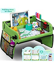 Lenbest Snack & Play Travel Tray with Dry Erase Top & 16 Mesh Pockets, Premium Child Play Tray Baby Car Seat Tray for Car, Stroller, Plane (Bonus Educational Drawing Paper Set)