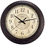Geneva 14-Inch Plastic Decorative Wall Clock, Brown