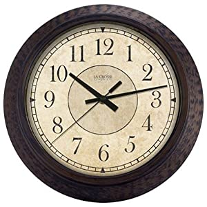 Amazoncom Geneva 14Inch Plastic Decorative Wall Clock Brown