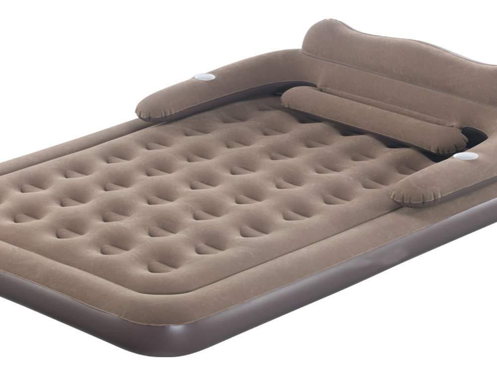 Erweiterte Beflockung Haushalt Luftmatratze Neue Linie Luftpolster Blätter Menschen aufblasbare Kissen Doppel-Lunchbett Outdoor-Zelt feuchtigkeitsbeständig erfrischend (152 * 230 * 22cm, Brown)