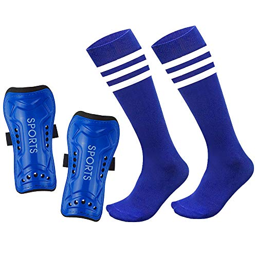 Mypre Youth Shin Guards Soccer Protective Gear Pad for Kids Cotton Long Sock Sleeve Football Board Equipment Fit 5-10 Years Old Boys Girls