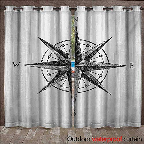 Decor Room Compass Complete - BlountDecor Compass Outdoor Curtain Seamanship Hand Drawn Windrose with Complete Directions North South WestW120 x L96 Charcoal Grey White