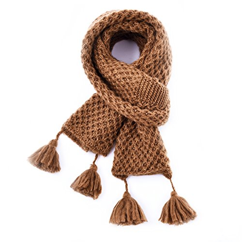 (Winter Fashion Thick Knitted Scarf,RiscaWin Thick Cable Knit Wrap Chunky Warm Glitter Metallic Scarf with Pom)