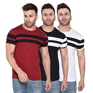 Rezalia Men's 100% Cotton Round Neck Half Sleeve Chest Stripe Tshirt(Combo Pack of 3)