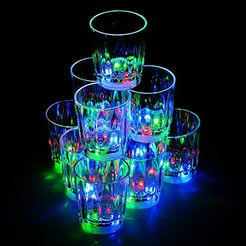 DGYAO 24PCS Non-toxic Plastic Colorful Flashing LED Cups Shots Glass for Birthday Party Night Bar Wedding Drinking