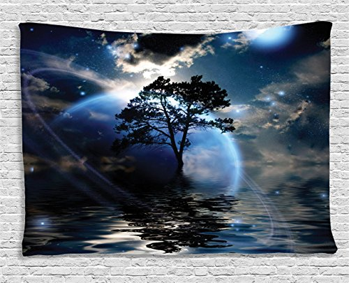 Ambesonne Fantasy House Decor Collection, Water Night View Dark Clouds Stars Moonlight Skylights Rays Tree Reflection on Sea Print, Bedroom Living Room Dorm Wall Hanging Tapestry, 60W X 40L Inch, - Bedroom Reflections