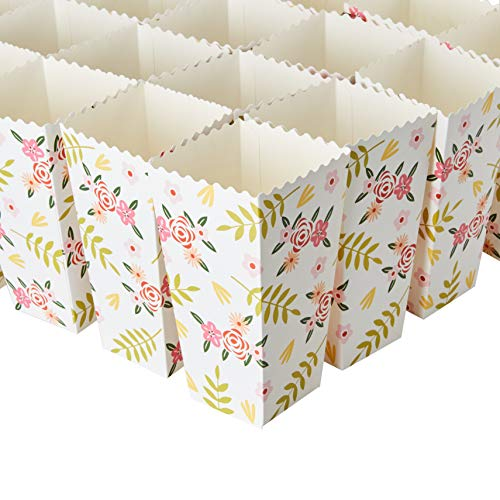 Set of 100 Popcorn Favor Boxes - 46oz Floral Themed Paper Popcorn Containers, Wedding Party Supplies, Ladies Movie Nights, Girls Birthdays, Baby Showers, Flowers Design, 7.7 x 3.7 x 3.7 Inches -