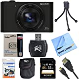 Sony Cyber-Shot DSC-WX500/B WX500B WX500 Digital Camera Black 32GB Bundle includes Cyber-Shot DSC-WX500 Digital Camera, screen protectors, compact carrying case, 32GB memory card, card reader, mini tripod, battery pack, HDMI cable and Beach Camera Cloth