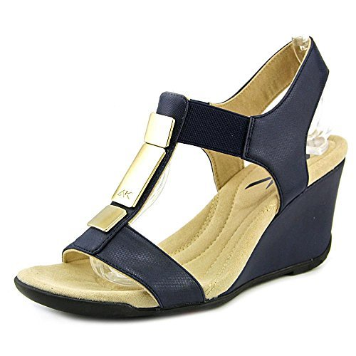 Ankle Wrap Wedge (Anne Klein Womens AKLOONA Open Toe Ankle Wrap Wedge Pumps, Nav/Nav, Size 7.0)
