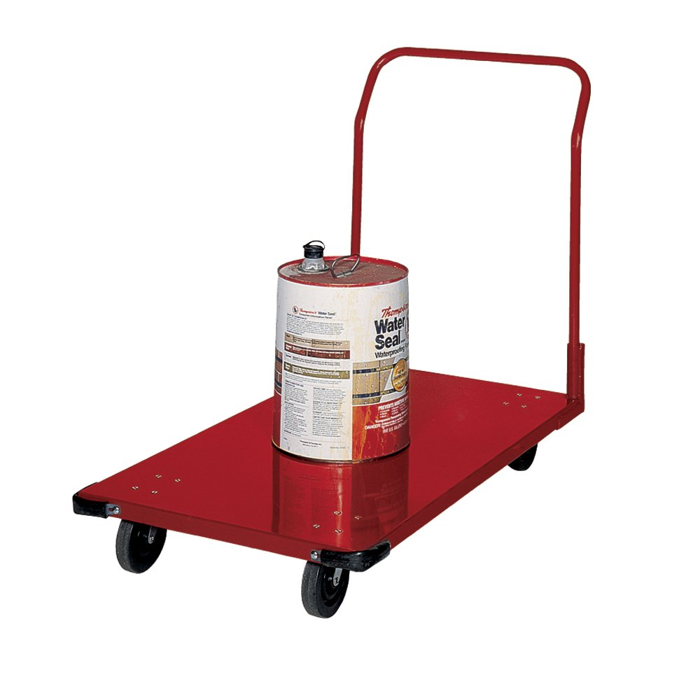 Edsal PT2442 Commercial Steel Platform Truck, Powder Coated Finish, Red Color, 600 lb. Capacity, 24'' W x 42'' D x 36'' H