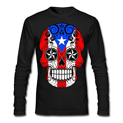Puerto Rico Flag Dress (Sugar Skull With Roses and Flag Of Puerto Rico Men's Adult Long Sleeve Outer Garment For Man)
