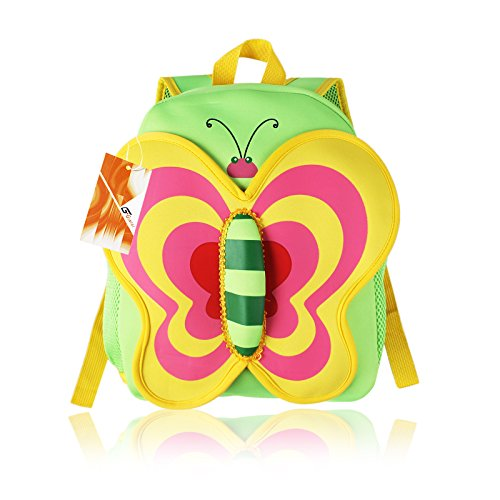 Children Toddler Kid's Backpack 3D Zoo Animal Cartoon Pre School Backpack Butterfly Green