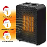 Yome Space Heater, Electric Space Heater with Adjustable Thermostat Ceramic Small Heater for Home and Office, Tip-Over and Overheat Protection, 750W/1500W