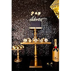 QueenDream Black Sequin Backdrop 4FT x 6.5FT Photography Background Sequin Fabric Photo Booth Backdrop Collapsible Video Studio Background Ideal for Curtain/Wedding/Other Event Decor