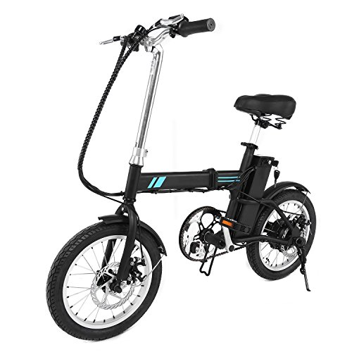 Professional 16 Inch Folding Electric Bicycle 250W 36V Ebike with 12 Mile Range LED Display US STOCK (black)