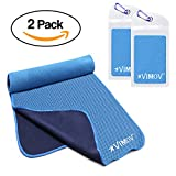 VIMOV Snap Cooling Towel 2 Pack Pouch, Blue Ice Towel Neck Wrap Sports, Workout, Gym, Yoga, Tennis, Travel, Running, Hiking