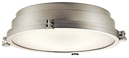 official photos 11ce5 17e2a Kichler 43885NILEDR Nautical Flush Mount Ceiling Light, Dimmable LED  22watt, Round, Brushed Nickel (18