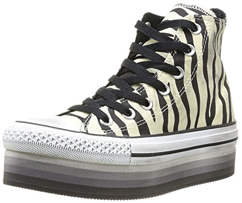 Converse A/S HI Platform Eva Canvas 543796C - Zapatillas de tela para mujer, color gris, talla 36 Varios colores (Natural/Black Zebra)