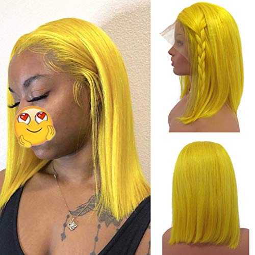 Straight Yellow Lace Wig Human Hair Pre Plucked 13x4 Middle Part Bob Wigs for Black Women 180% Density Full Straight Frontal Bob Haircut 12 Inches Bleached Knots (Best Short Haircuts For Black Hair)