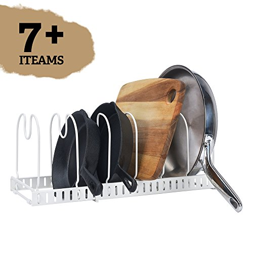 """Expandable Cookware Organizer Rack, Store 7+ Kitchen Pans and Pots, White, Extended to 22.5"""", Total 7 Adjustable Compartments, Cabinet Pantry Cupboard Bakeware Plate Holder Storage Solution"""