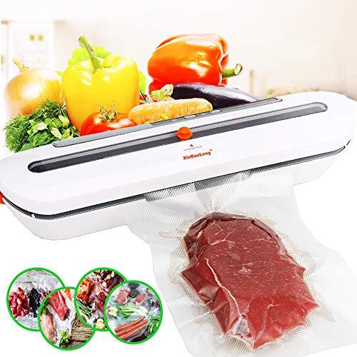 FoodOSeal Food Vacuum-Sealer for Dry-Moist Food Kitchen Tool Food-Sealer with 10pcs Sealer-Machine-Bags Food Preservation (1pack, White)