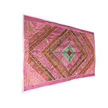 Mogul Vintage Banjara Tapestry Sequin Embroidered Pink Wall Hanging Unique Handcrafted Gifts?