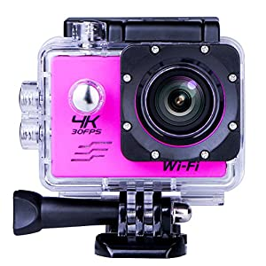Sports Camera Sport Video 4K WIFI Action Cam 16 MP Underwater Camcorder HD 1080P and 2 Batteries 170° Wide-Angle Pink