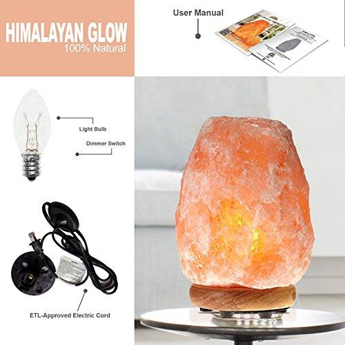 Himalayan Glow WBM 1002 large Salt lamp. ETL Certified himalayan pink salt lamp with Neem Wood Base/salt lamp light bulbs and Dimmer Control, Crystal, 9'' x 5'' x 5'', 8-11 LBS by Himalayan Glow (Image #11)