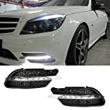 iJDMTOY OEM Style High Power LED Daytime Running Light lamps for 2008-2010 Mercedes Benz W204 C-Class C300 C350 with Sports Package Bumper Only, Xenon White