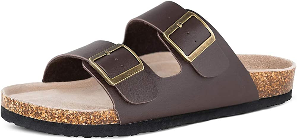 TF STAR Mens Slip On Flat Casual Cork Sandals with 2-Strap Buckle,Leather Cork Slide Arizona Sandals for Men