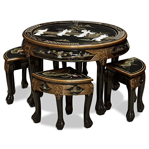 China Furniture Online Chinoiserie Cocktail Table, Mother of Pearl Ladies Motif Table with 4 Hand Painted Lotus Motif Stools (Mother Of Pearl Coffee Table)