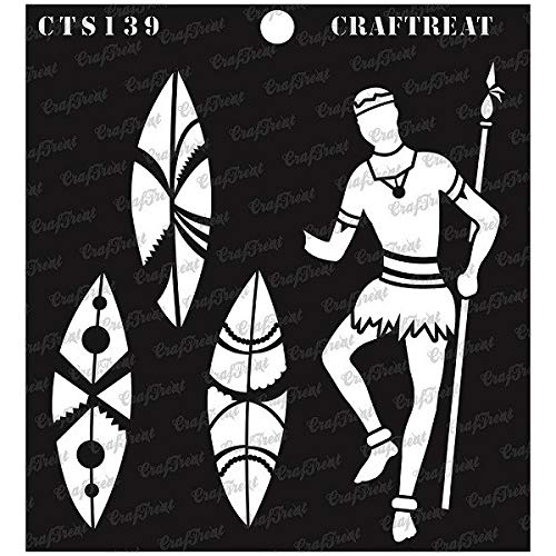 CrafTreat Stencil - Warrior with Shield | Reusable Painting Template for Journal, Notebook, Home Decor, Crafting, DIY Albums, Scrapbook and Printing on Paper, Floor, Wall, Tile, Fabric, Wood 6