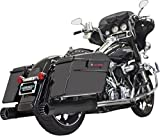 Bassani DNT Black w/ Black Tips 4 in. Slip-Ons Straight Can for Harley 95-14 Touring 1F7DNT5B