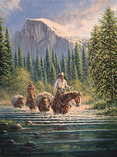 - Jack Terry Artist A Cowboys Time to Reflect Giclee Artist Signed Canvas Art Print for Home or Office