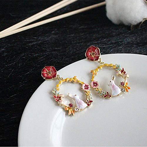(Exquisite Enamel Rabbit Mushroom Flower Stud Earring Woman Fashion Jewelry)