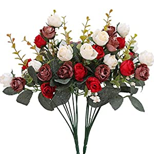 Luyue 7 Branch 21 Heads Artificial Silk Fake Flowers Leaf Rose Wedding Floral Decor Bouquet,Pack of 2 (Red coffee) 34