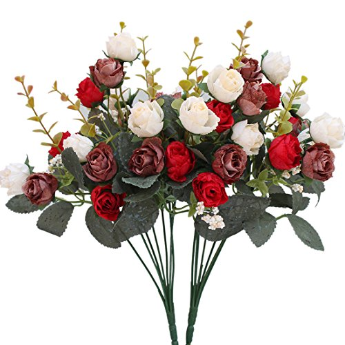(Luyue 7 Branch 21 Heads Artificial Silk Fake Flowers Leaf Rose Wedding Floral Decor Bouquet,Pack of 2 (Red coffee))