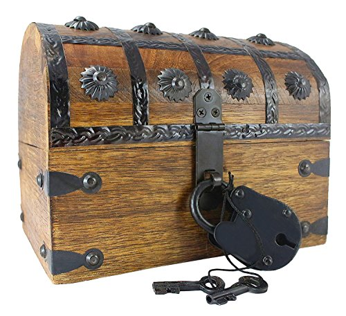 Well Pack Box Blackbeard Authentic Antique Style Wooden Pirate Treasure Chest Box With Black Hasp Latch Includes Master Padlock & Vintage Skeleton - Wooden Pirate Chest
