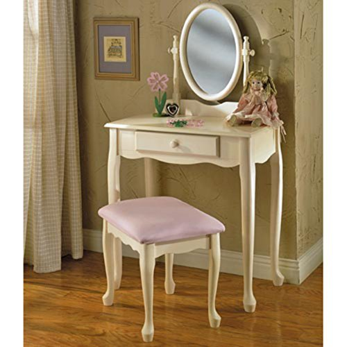 Vanity Set, Charming Off-White Finish Lasts For Years, Elegant Queen Anne-Style Legs, Adjustable Oval Mirror Adds to Convenience, Full-Size Drawer for Handy Storage, Simple and Quick - Bench Style Storage Queen Anne