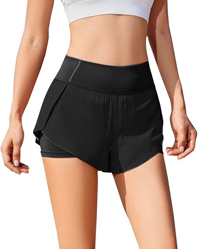Lixada Pantaloncini Sportivi da Donna 2 in 1 con Design Tasca Laterale Asciugatura Rapida Pantaloni Fitness Traspirante per Correre Jogging Palestra Boxe Danza S-XL
