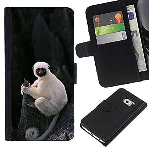 KingStore / Leather Etui en cuir / Samsung Galaxy S6 EDGE / Singe Ape Madagascar