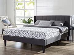 Transform you bedroom with this stylish platform bed by Zinus. It ships in one carton with the frame, legs and ten wooden slats conveniently located in the zippered compartment in the back of the headboard for easy assembly. This upholstered ...